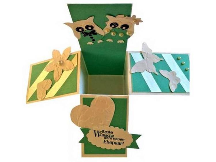 """Geschenkverpackung """"Herzen, Blumen Eulen"""" zur Hochzeit"""