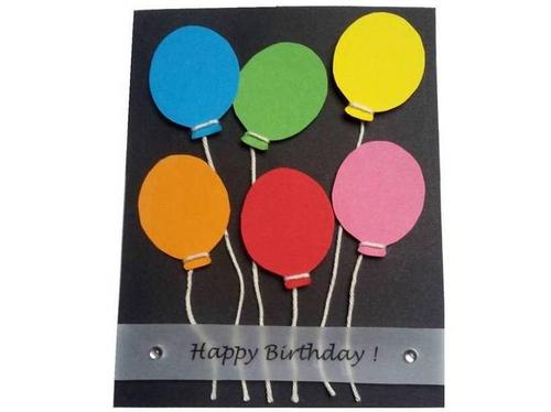Geburtstagskarte mit bunten Luftballons