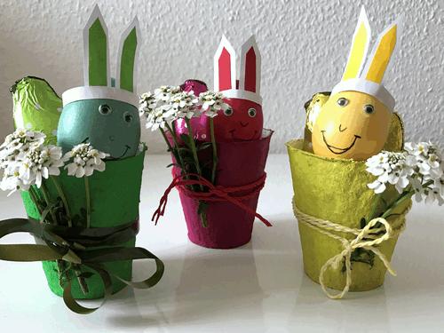 Dekoriertes Osternest aus Pflanzenanzuchtbecher