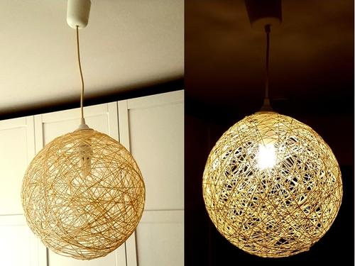 So stellst Du eine Kugellampe aus Wolle und Tapetenleim her.