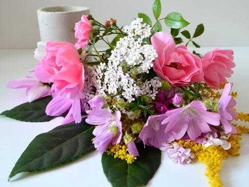Schau her, wei schön bunte Blumen udn eine Betonvase harmonieren.